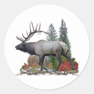 Bull Elk Round Stickers