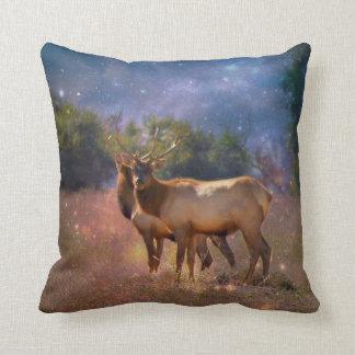 Bull Elk Twilight Pillow