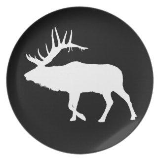 Bull elk white dinner plate
