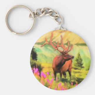 Bull Elk Wildlife Keychain