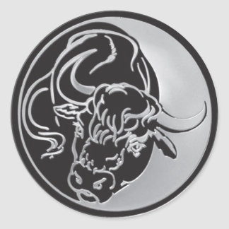 Bull Emblem With Silver Background Classic Round Sticker