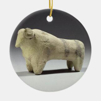 Bull en el estilo de Ubaid, c.4000-3500 A.C. Adorno Navideño Redondo De Cerámica
