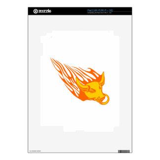 Bull en las llamas/Toro De Fuego iPad 2 Calcomanía