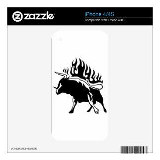 Bull en llamas calcomanías para iPhone 4S