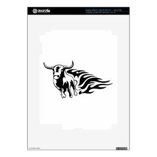 Bull en llamas iPad 3 pegatina skin
