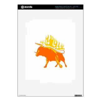 Bull en llamas iPad 3 pegatinas skins