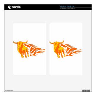 Bull en llamas kindle fire pegatinas skins