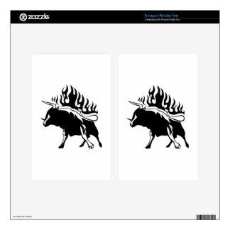 Bull en llamas kindle fire skins