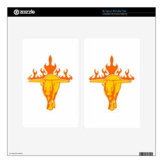 Bull en llamas pegatina skin para kindle fire