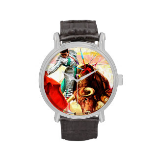 Bull Fight Bullfighter Vintage Mexico Poster Art Wrist Watches