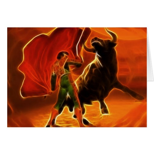 Bull Fighter And El Toro Greeting Card