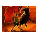Bull Fighter And El Toro Postcard