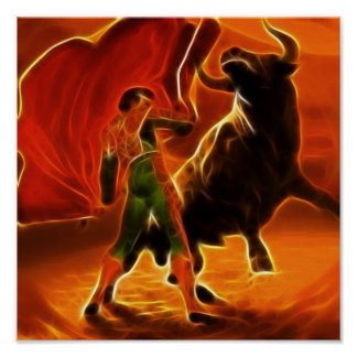 Bull Fighter And El Toro Poster