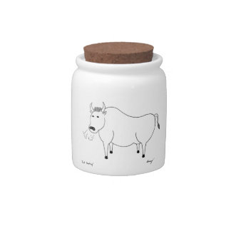 Bull Folk Art Candy Jar