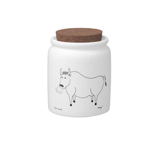 Bull Folk Art Candy Jar