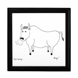 Bull Folk Art Keepsake Box