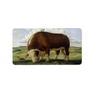 Bull gigante etiquetas de dirección