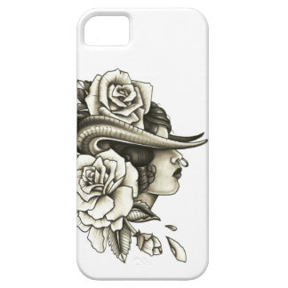 Bull girl with roses tattoo iphone case