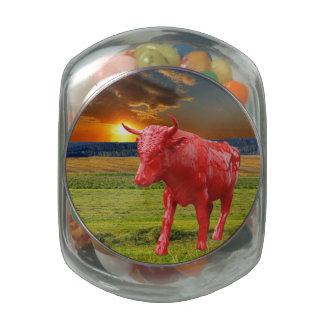 Bull Glass Candy Jars