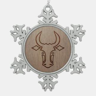 Bull head engraved on wood design snowflake pewter christmas ornament