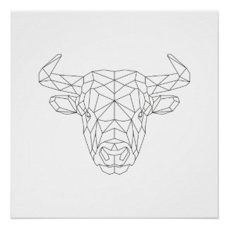 Bull Head Geometric Black & White Modern Art Print