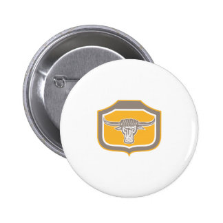 Bull Head Snorting Shield Retro Pinback Button