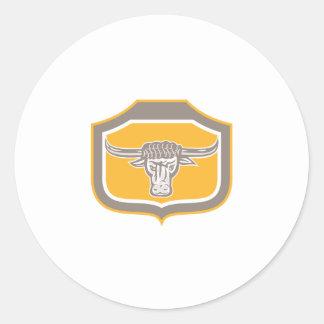 Bull Head Snorting Shield Retro Sticker