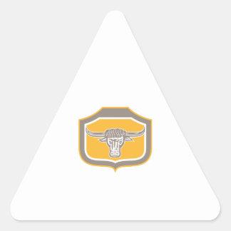 Bull Head Snorting Shield Retro Triangle Sticker
