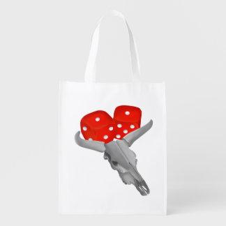 Bull Horns Snake Eyes Craps Dice Grocery Bag
