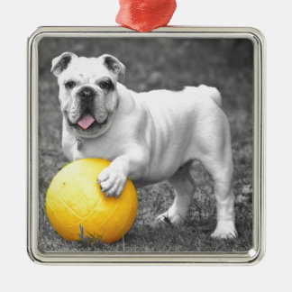 Bull in black and white with yellow ball metal ornament