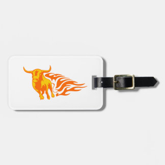 Bull in Flames Bag Tag