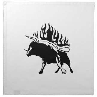 Bull in Flames Cloth Napkin