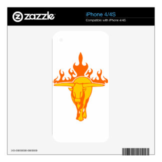 Bull in Flames Decal For iPhone 4
