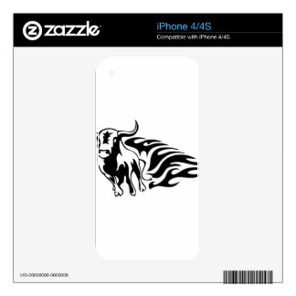 Bull in Flames iPhone 4 Decals