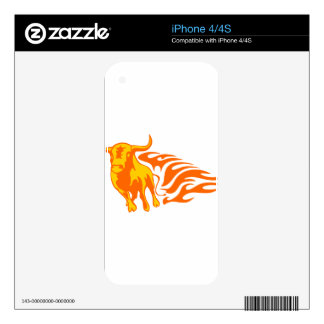 Bull in Flames iPhone 4S Skins