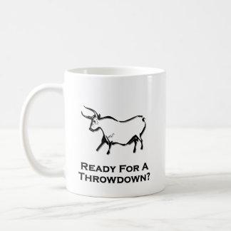 Bull lista para un negro del Throwdown Taza De Café