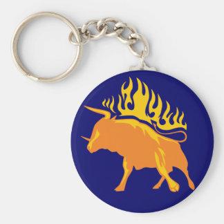 Bull llameante #4 llavero redondo tipo pin