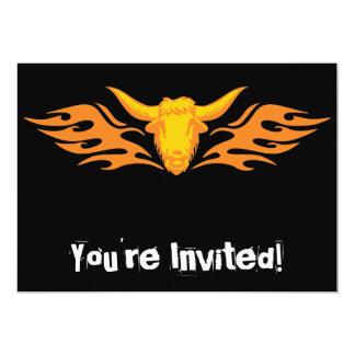 """Bull llameante #8 invitación 5"""" x 7"""""""