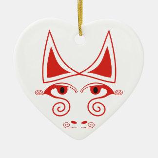Bull loca adorno navideño de cerámica en forma de corazón