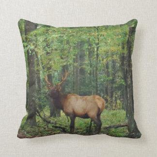 Bull Male Elk in autumn field Pillow