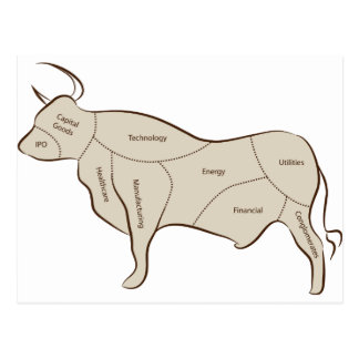Bull Market Industry Sectors Postcard