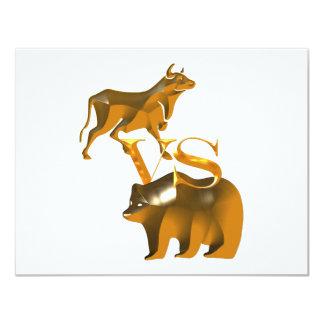 Bull Market Vs Bear Market 4.25x5.5 Paper Invitation Card