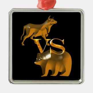 Bull Market Vs Bear Market Square Metal Christmas Ornament
