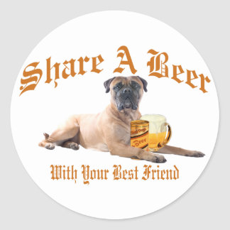 Bull Mastiff Shares A Beer Classic Round Sticker