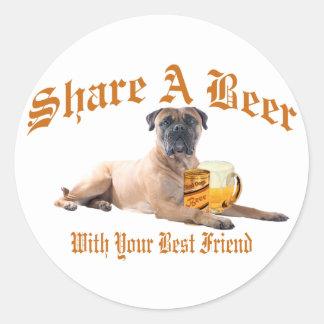 Bull Mastiff Shares A Beer Classic Round Sticker