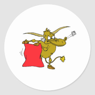 Bull Matador Round Stickers
