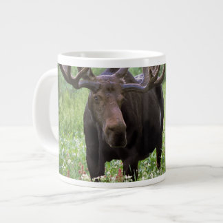 Bull moose Alces alces) in wildflowers, Large Coffee Mug