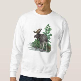 Bull moose art pullover sweatshirts