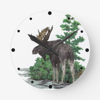 Bull moose art round clock
