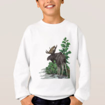 Bull moose art sweatshirt